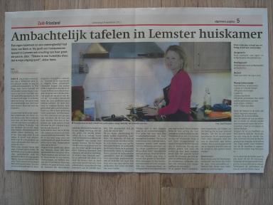 Krante-artikel huiskamerrestaurant